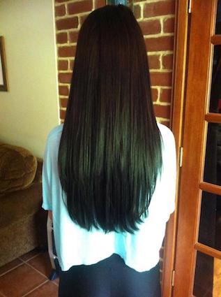 Schwarze lange Haare